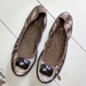 Lindsay Phillips Liz Bronze Ballet Toe Snap Flats